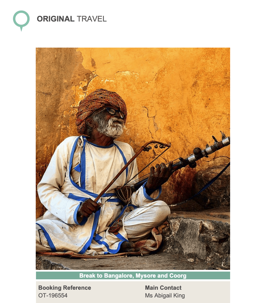 Original Travel India Itinerary