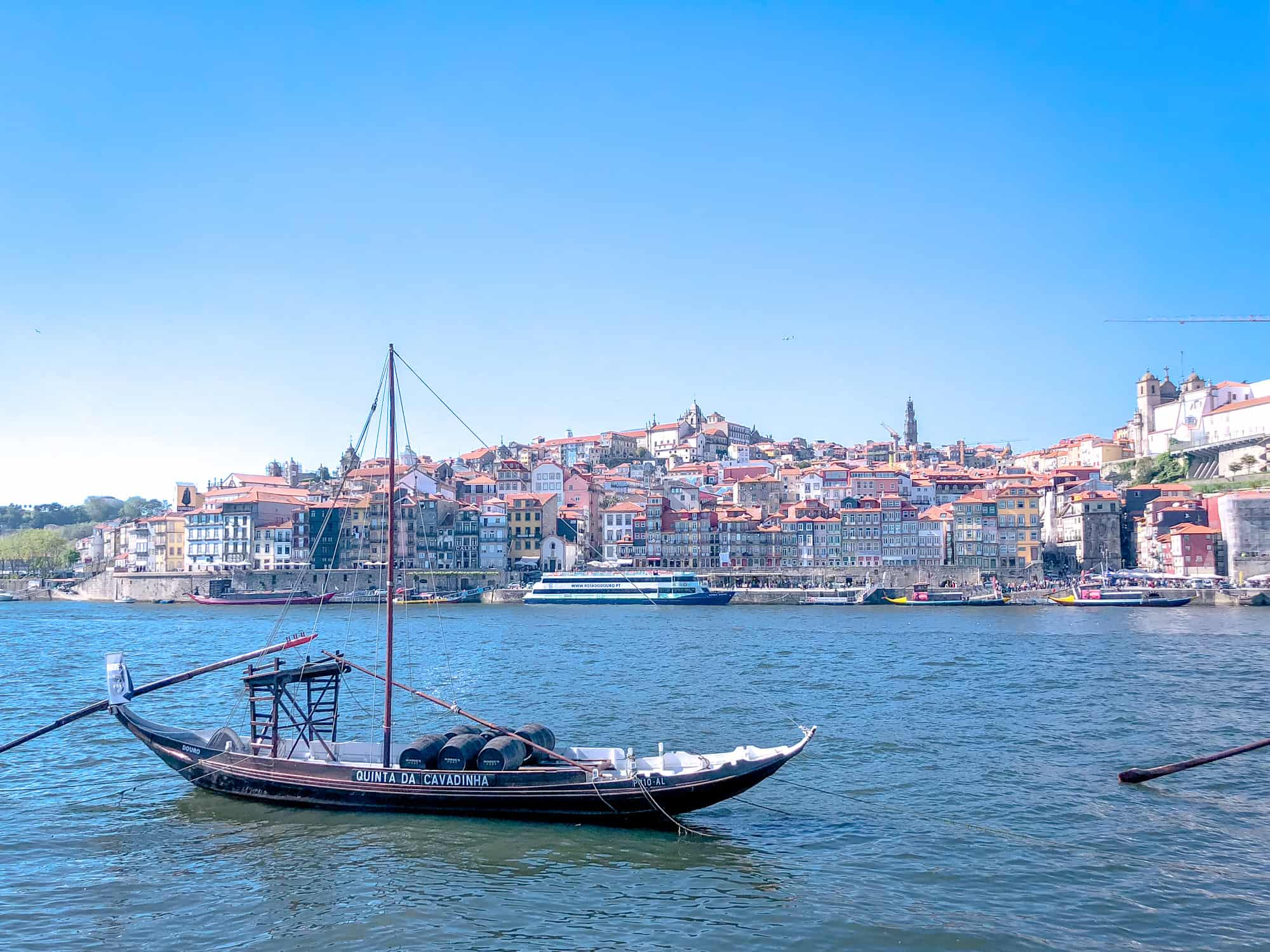 Portugal - Porto - Unusual things to do in the city -Rabelo boat with Ribeira in the background