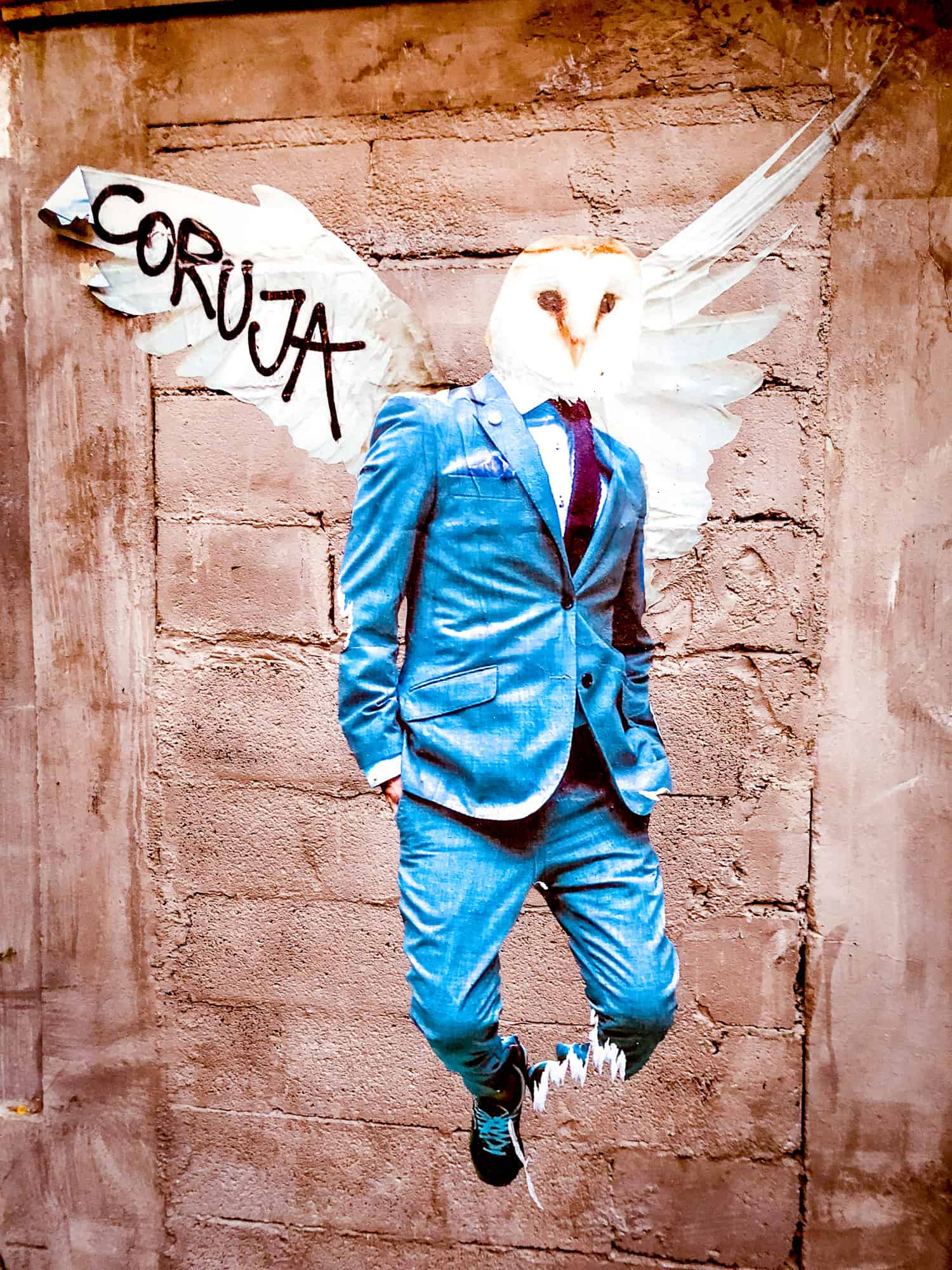 Street Art Owl Man in Suit