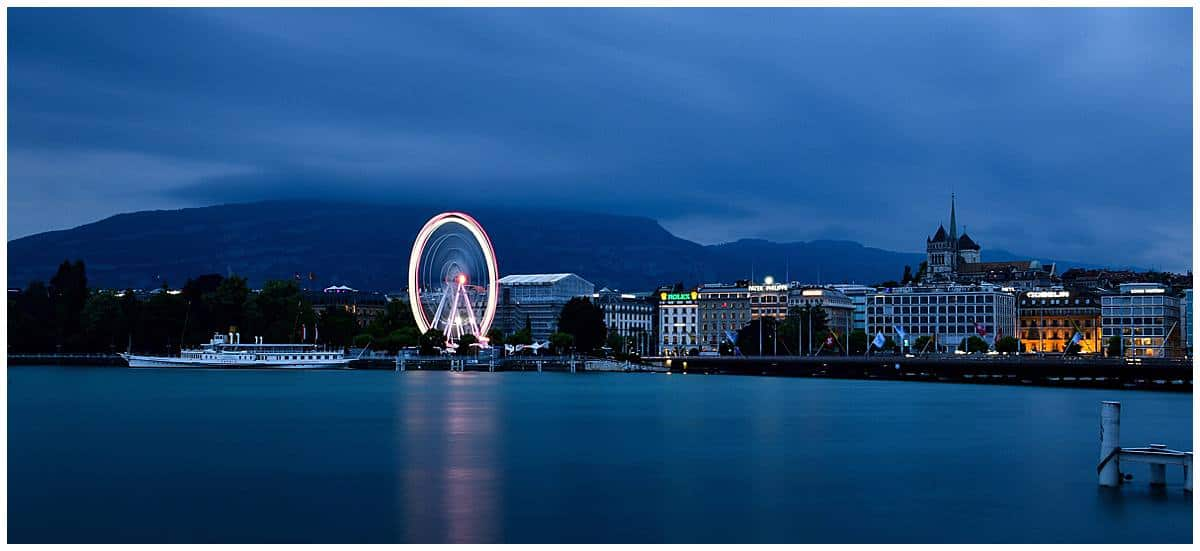 Switzerland - Edge of Lake Geneva at night