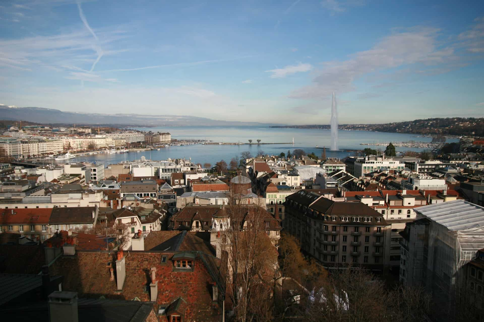 Switzerland Geneva Jet d'Eau and Old Town