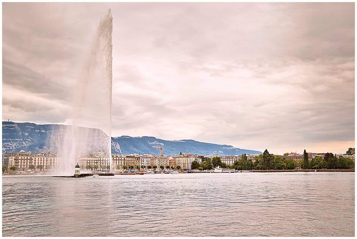 Switzerland - Geneva - lake with fountain and old historic town