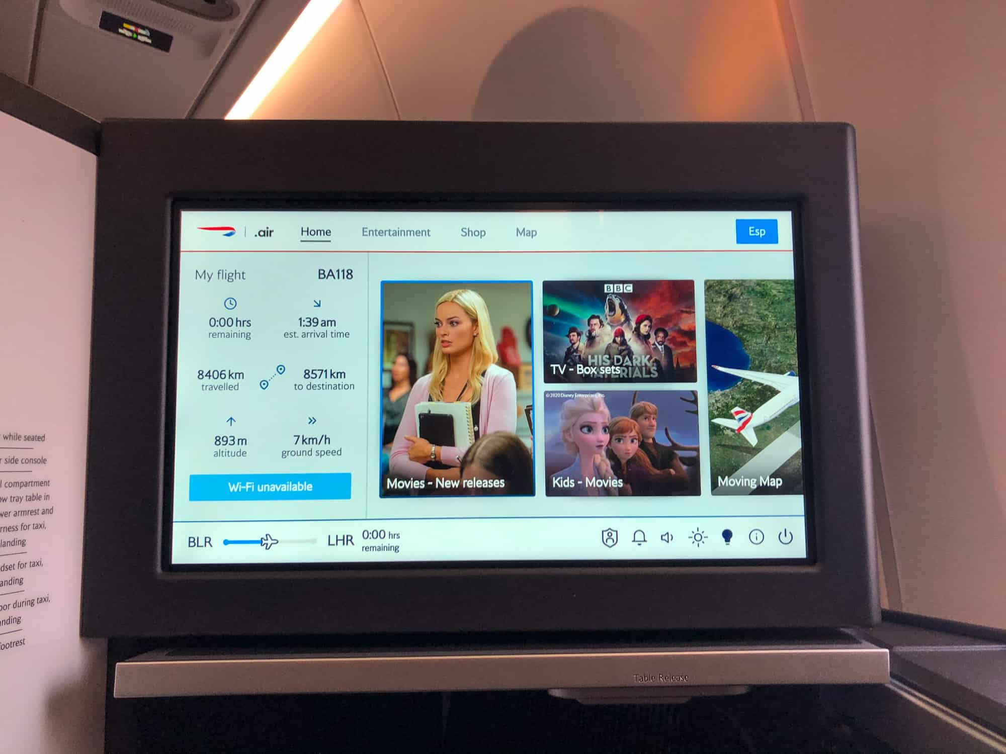 British Airways Business Class Review Entertainment Screen