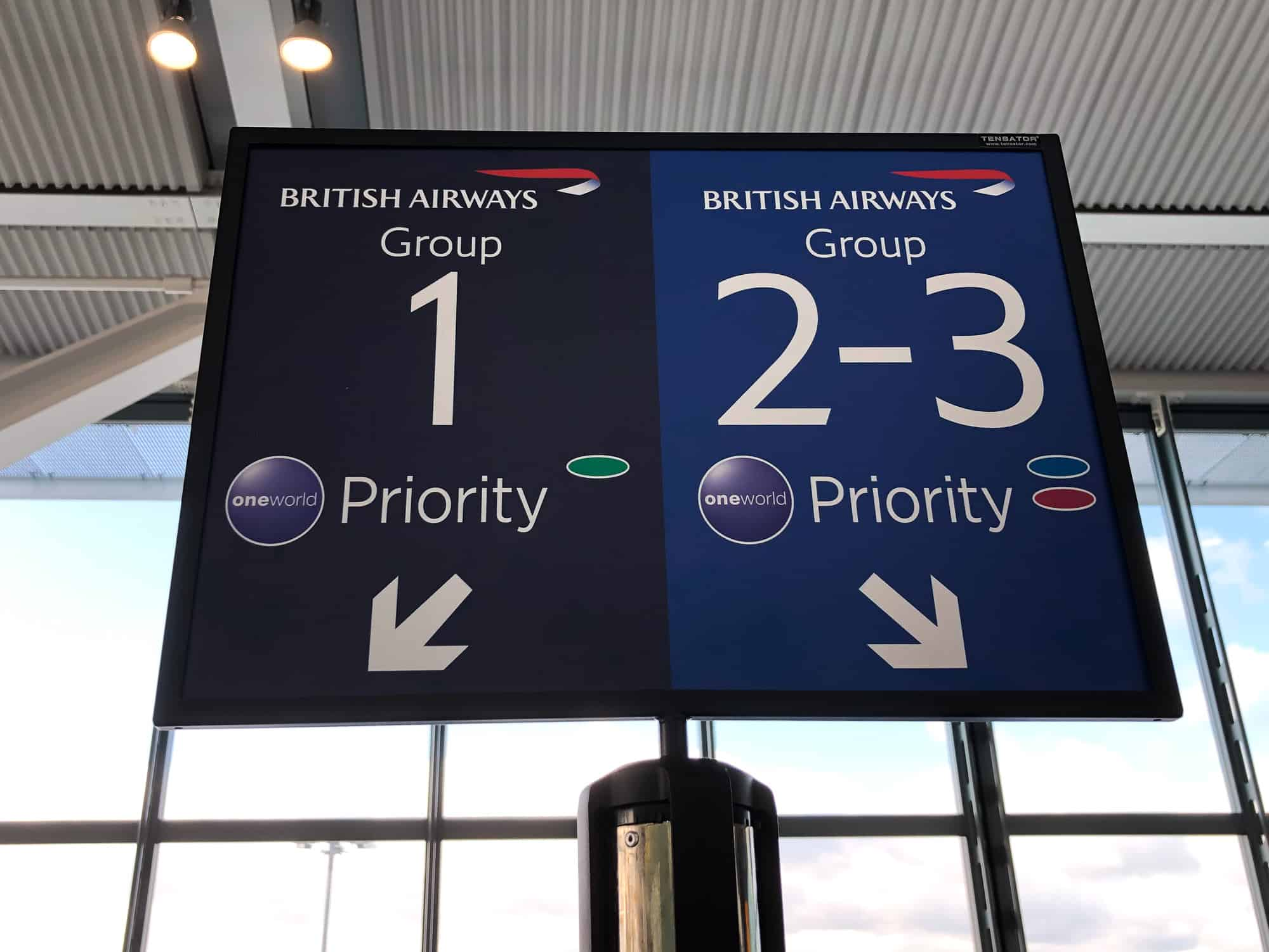 British Airways Priority Boarding Sign London Heathrow