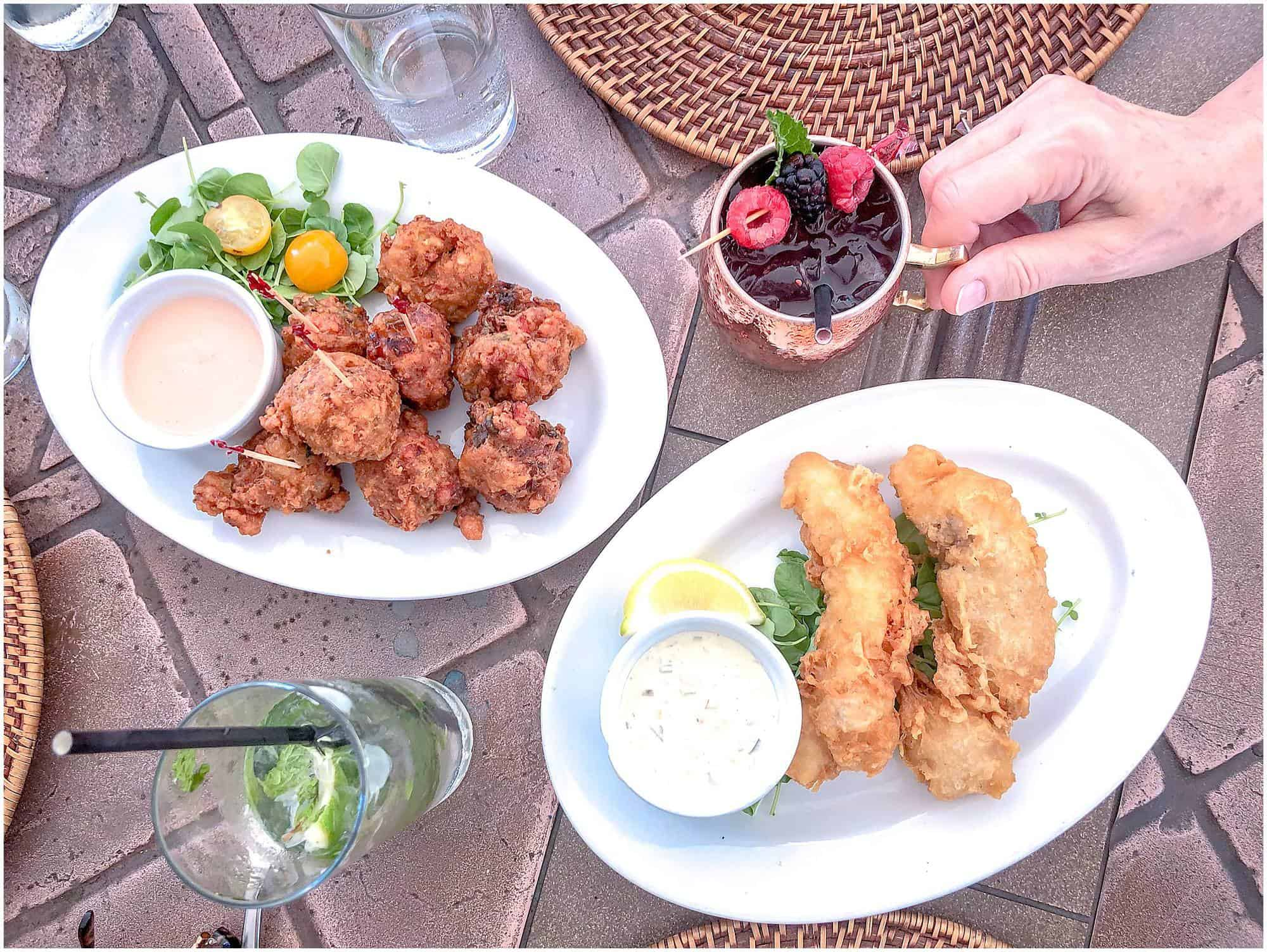 Bahamas - Nassau - Wild Thyme Restaurant Conch Fritters and Cocktail