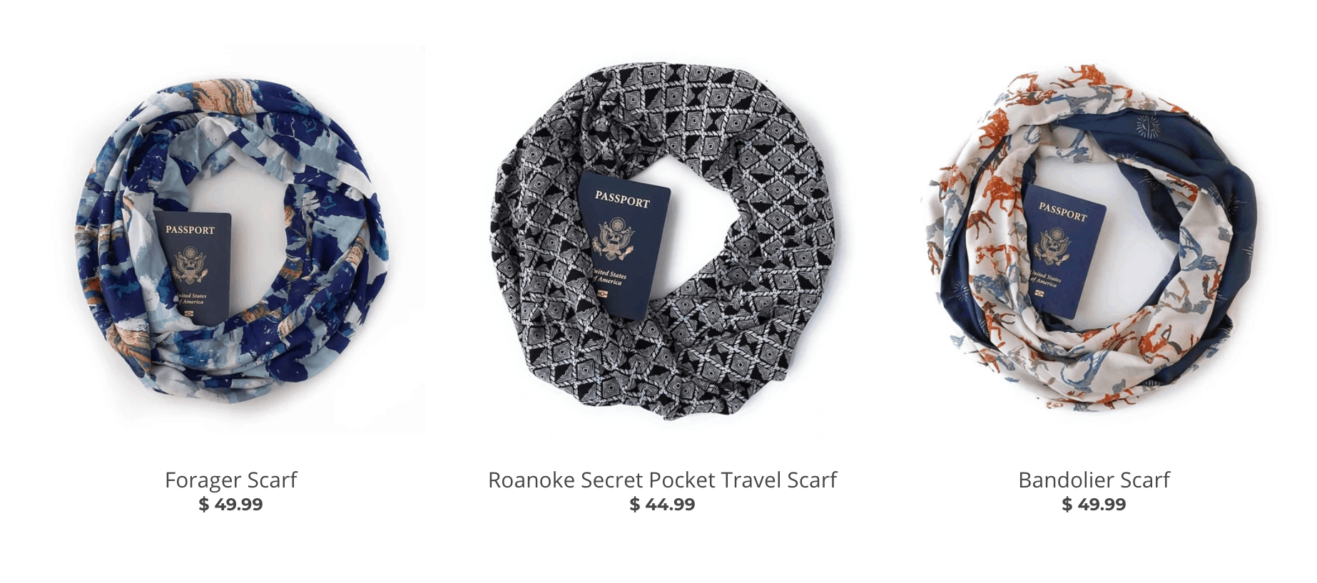 Speakeasy Travel Scarves in a Line