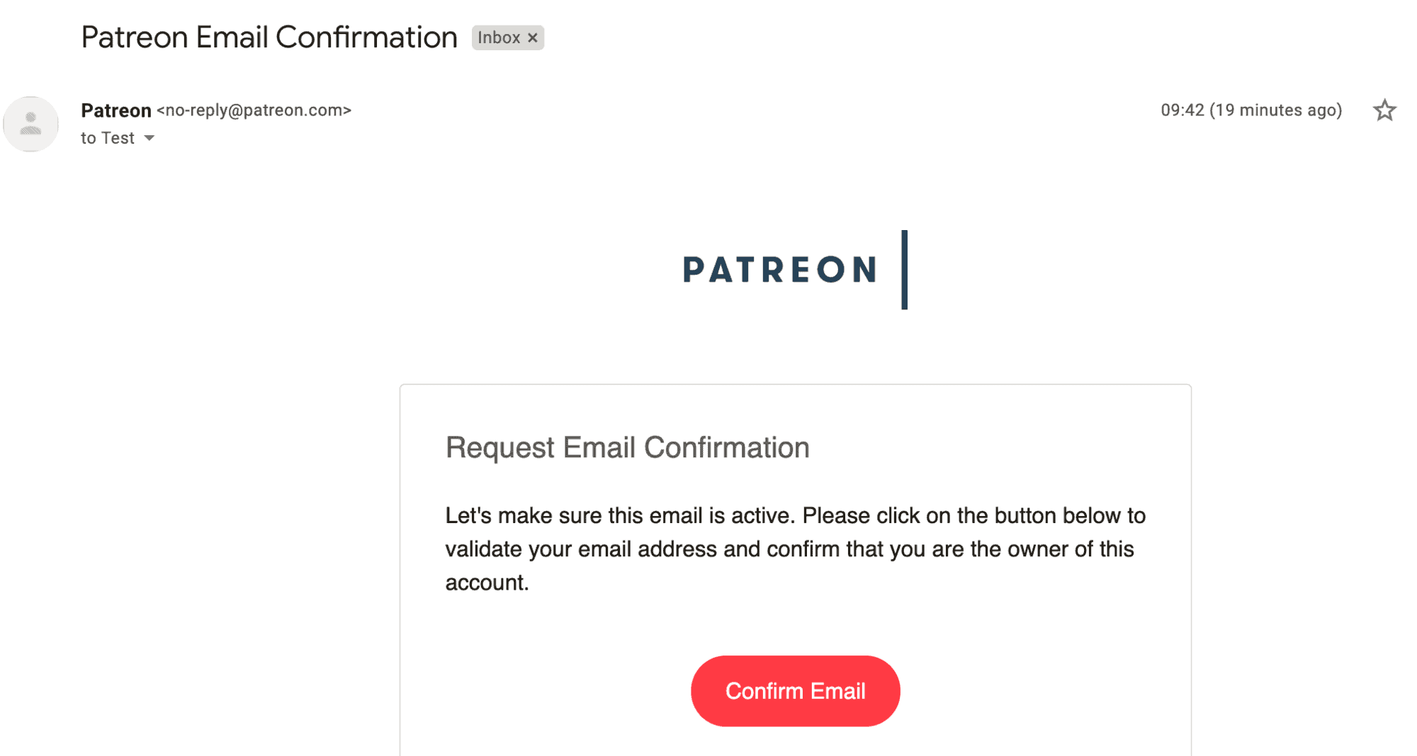 Request email confirmation from Patreon