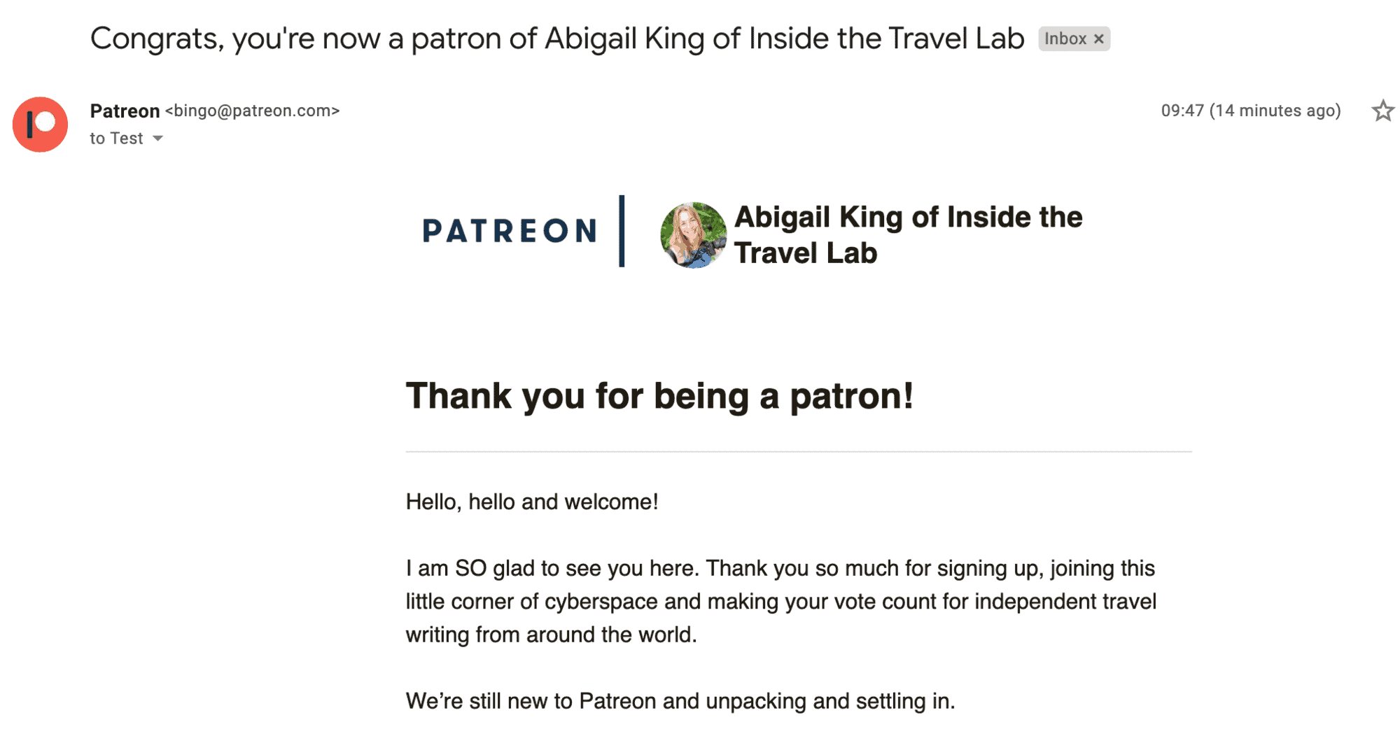 Patreon Thank You Message