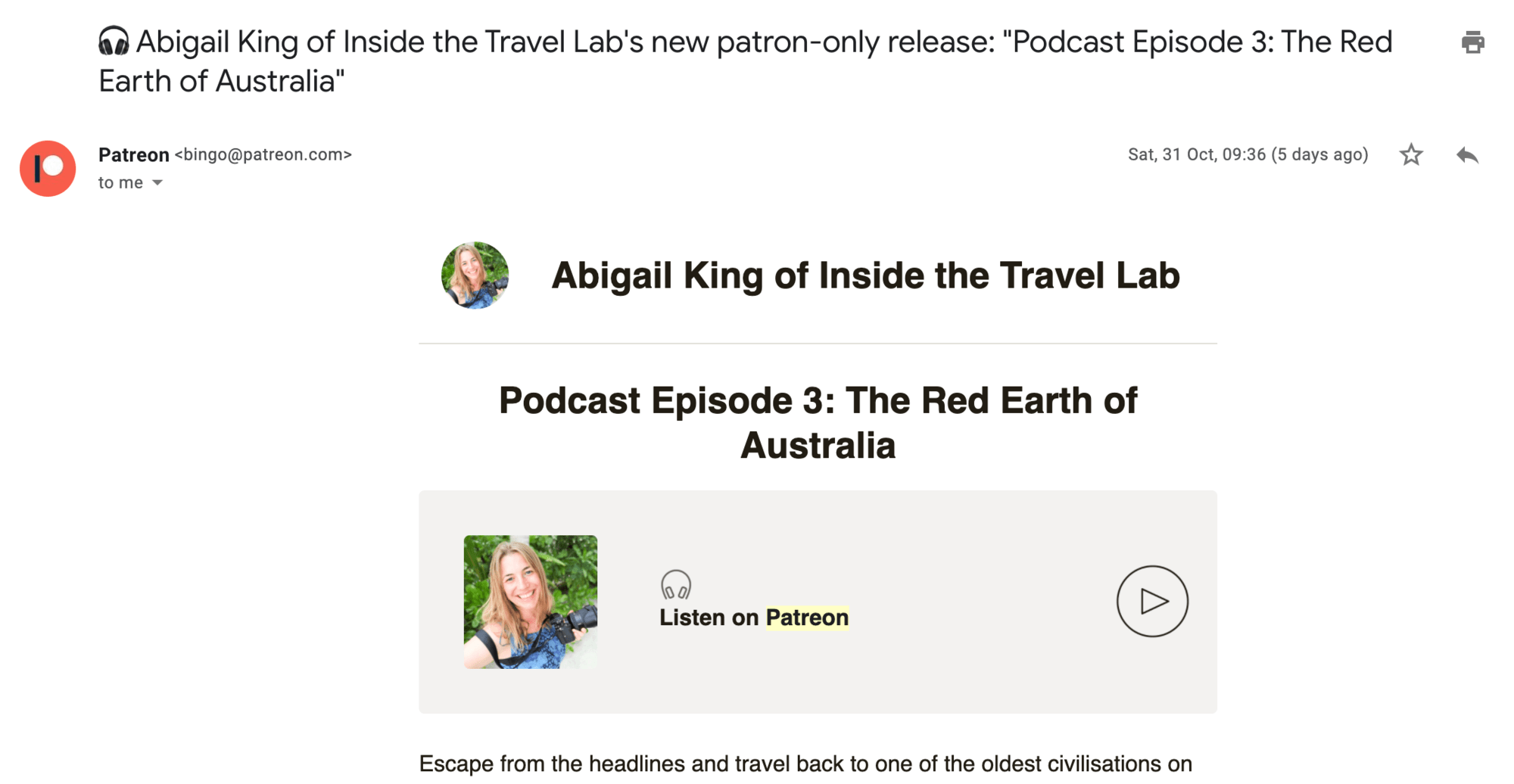 Standard email from Patreon
