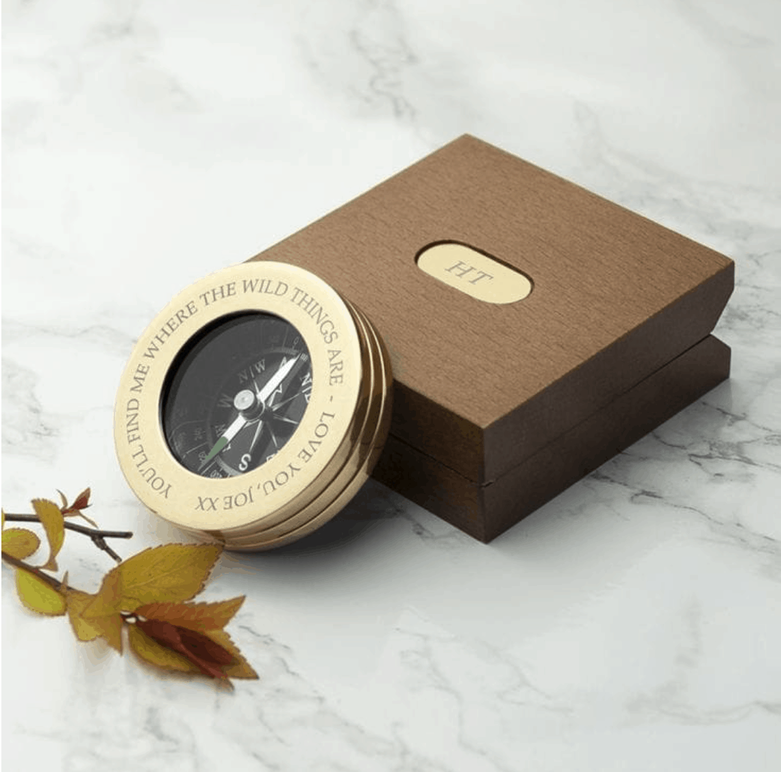 Gift ideas for someone travelling - personalized compass in a box
