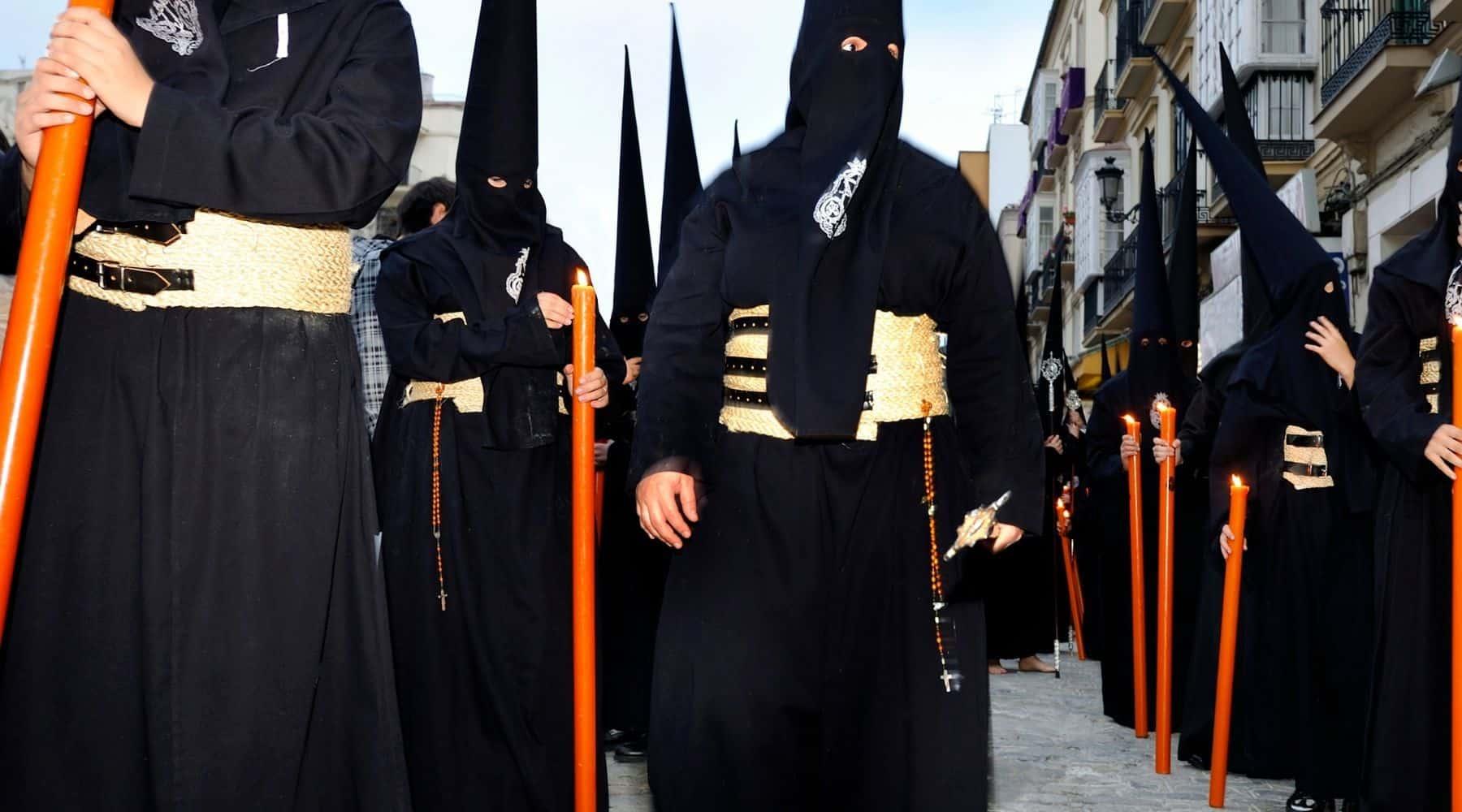 Spain - Seville - Holy Week - Semana Santa - Black cloaked Nazarenos