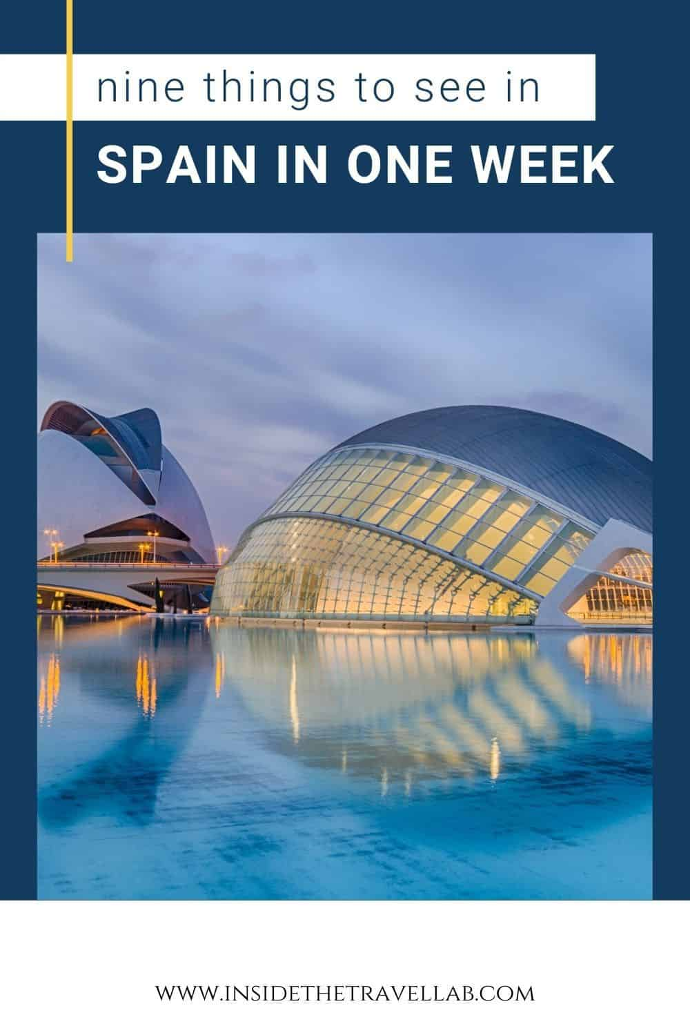 How to see Spain in a week - view of Valencia Arts & Sciences Building