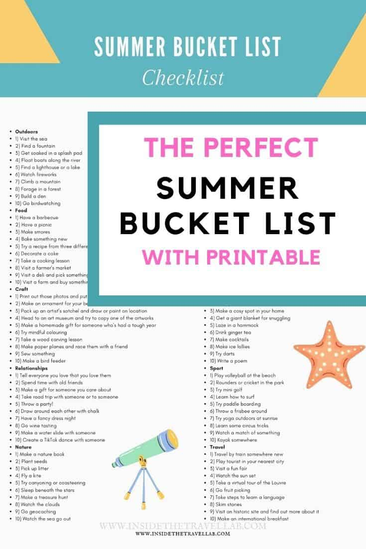 Perfect summer bucket list printable cover image