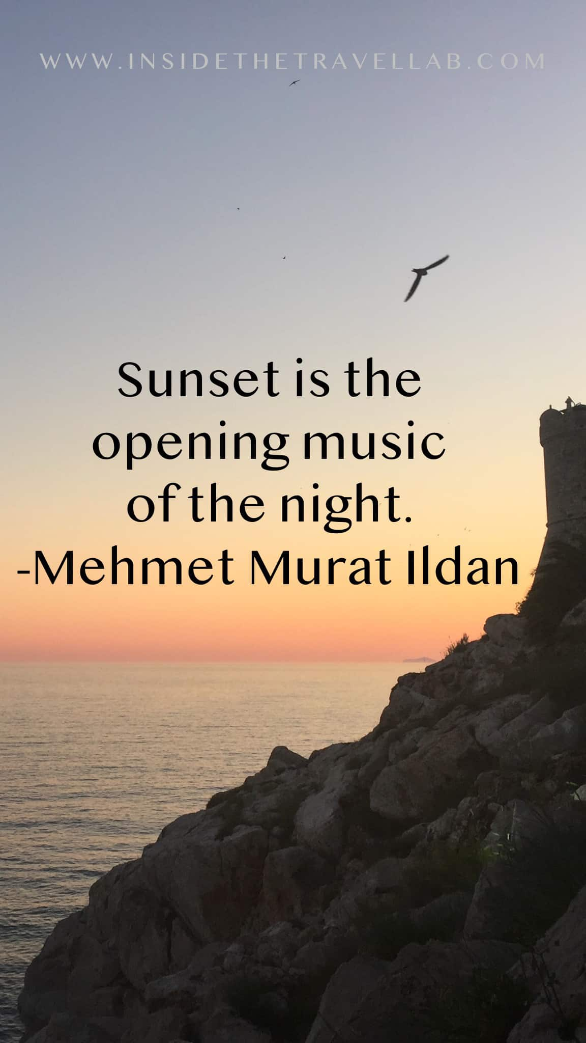 Sunset captions and sunset quotes - sunset is the opening music of the night - Mehmet Murat Ildan