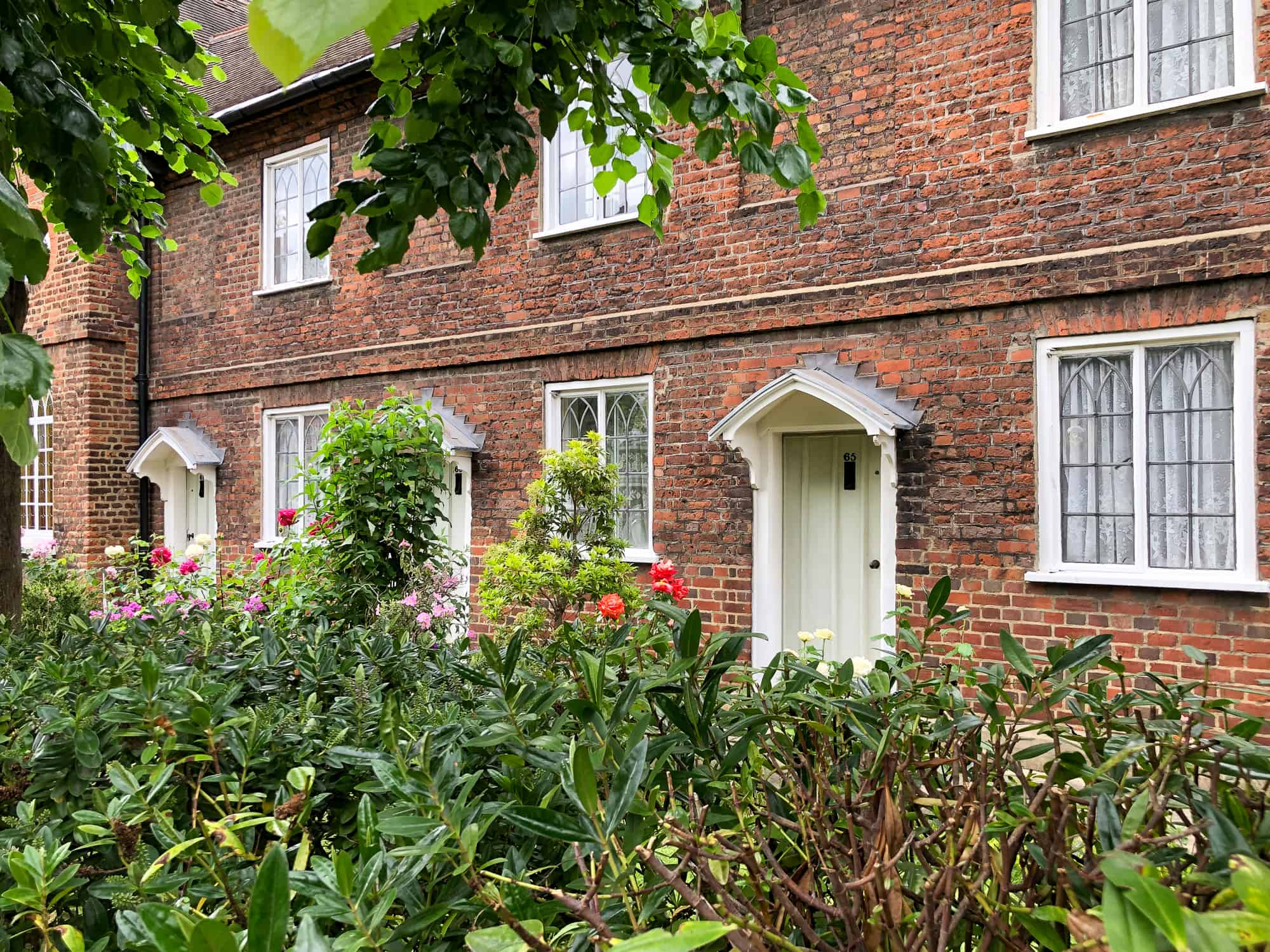 England - Kingston upon Thames - red brick house with leaves