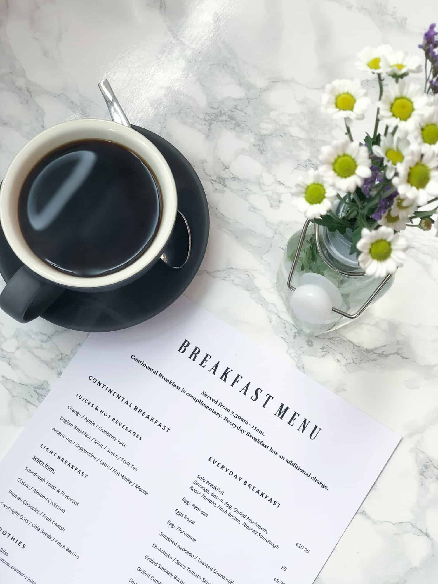 England - breakfast menu and coffee at the Kingston 1 Hotel