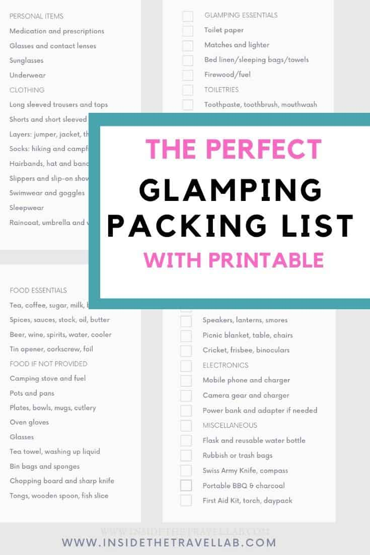 Glamping checklist cover