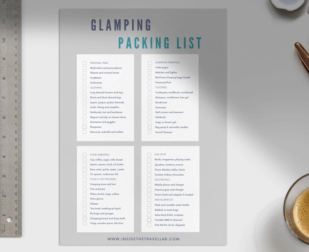 Glamping Packing Checklist PDF Printable