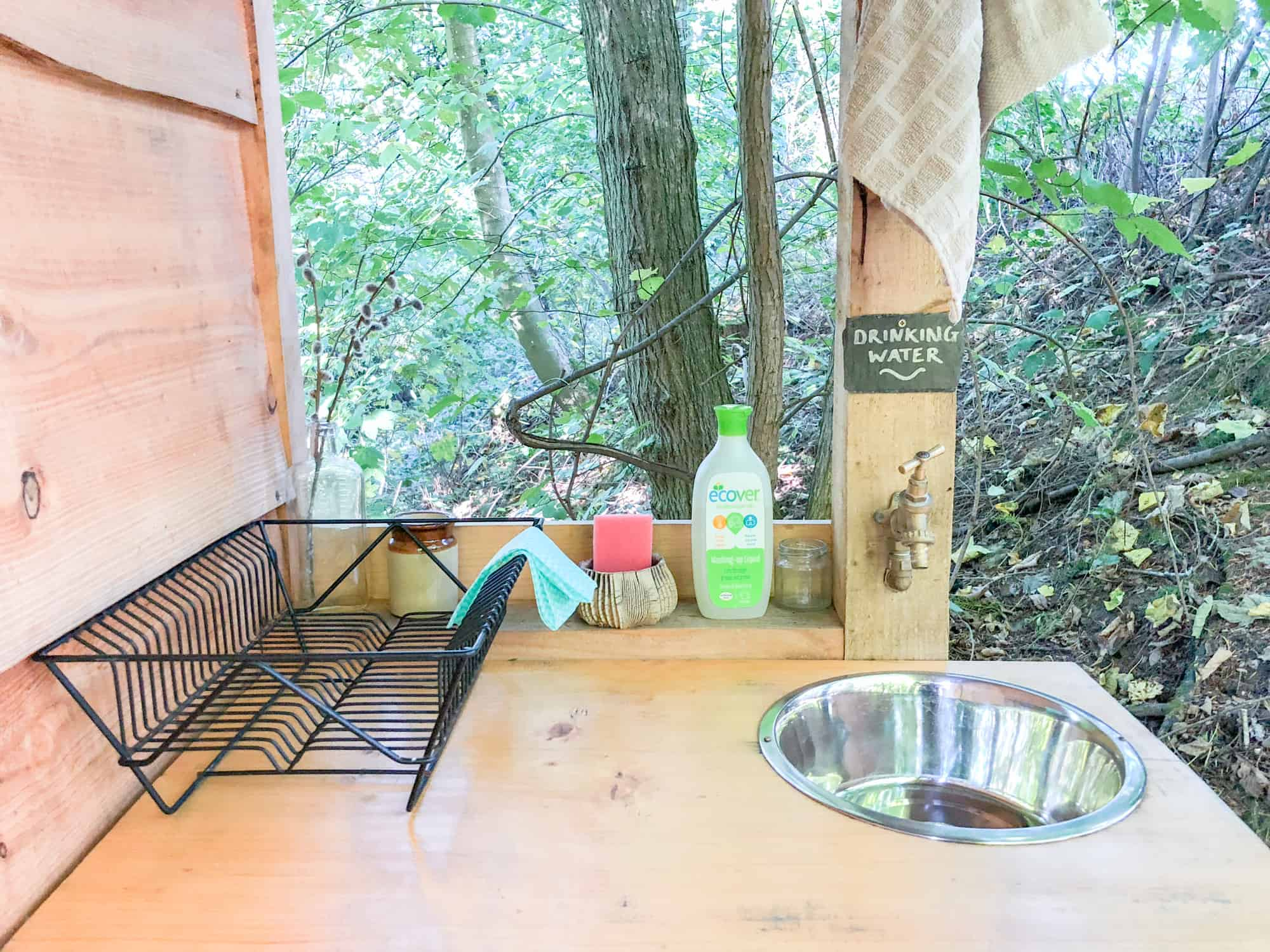 Glamping checklist - eco soap, sponge and drinking water