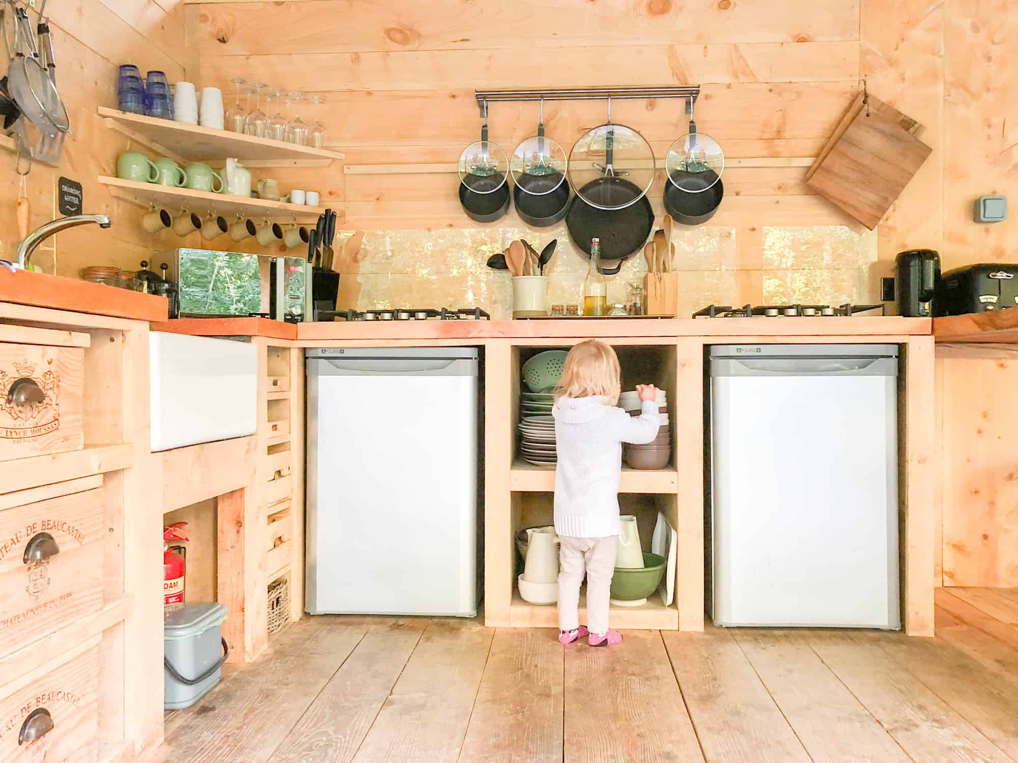 Glamping checklist - inside kitchen glamping with small child