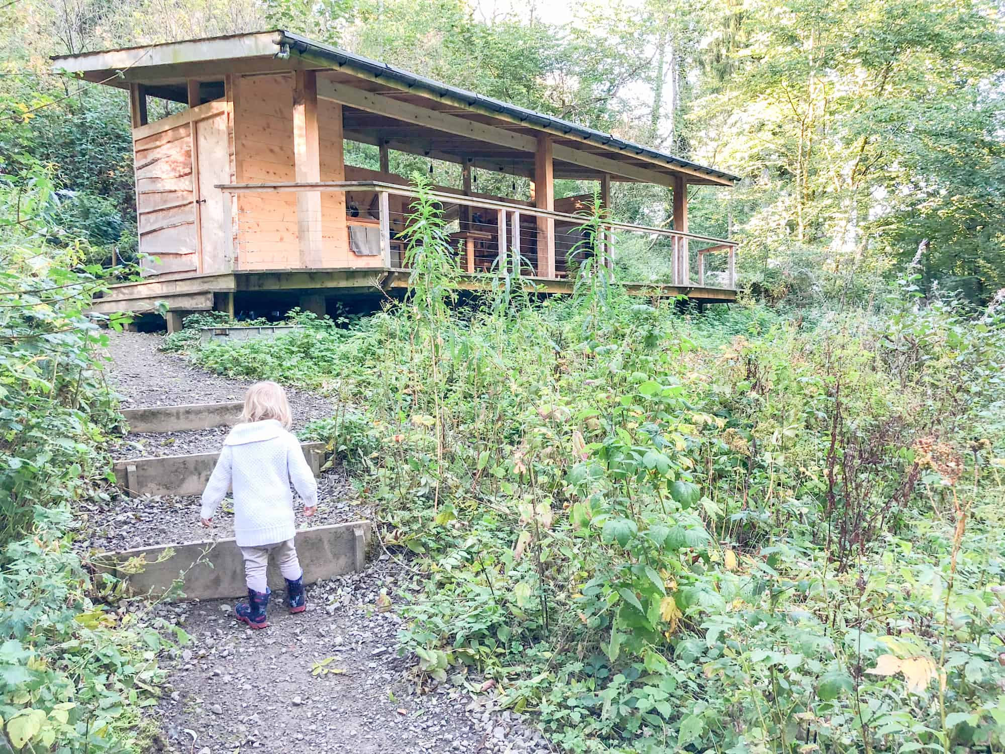 Glamping with young child landscape hut photo